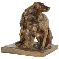19th Century Stucco Sculpture of Two Dogs, Signed Albert Hager