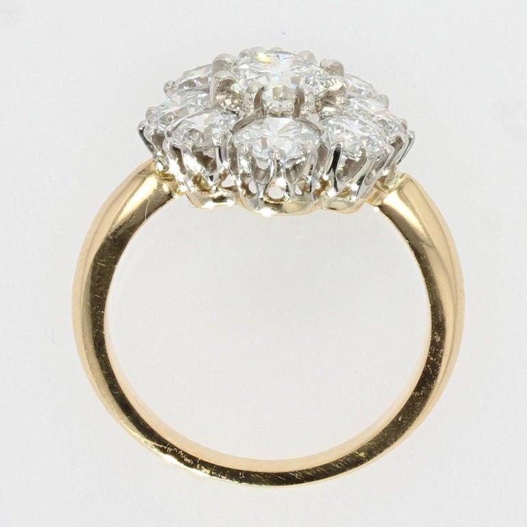19th Century Style Diamond 18 Karat Yellow Gold Pompadour Ring For Sale 4