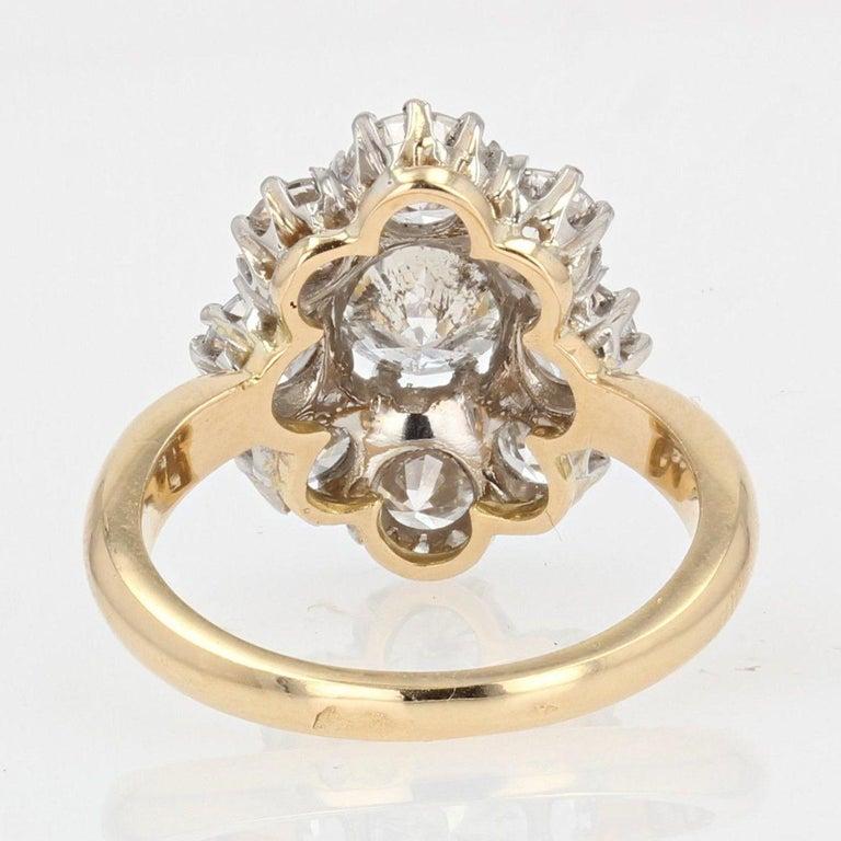 19th Century Style Diamond 18 Karat Yellow Gold Pompadour Ring For Sale 5