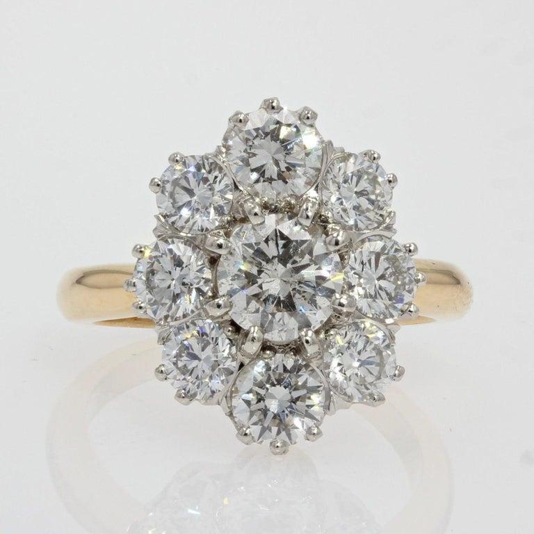 19th Century Style Diamond 18 Karat Yellow Gold Pompadour Ring For Sale 6