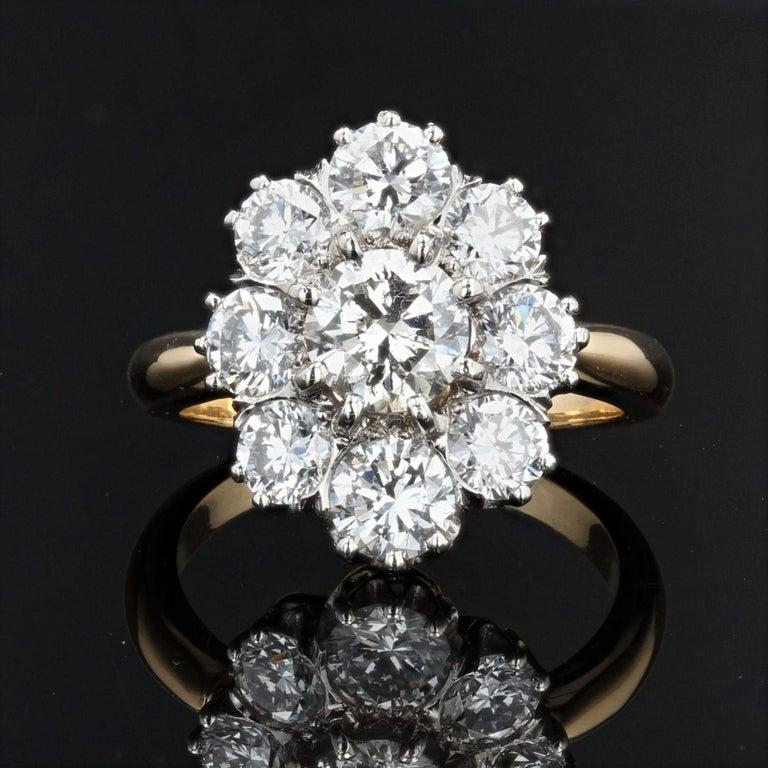 Napoleon III 19th Century Style Diamond 18 Karat Yellow Gold Pompadour Ring For Sale