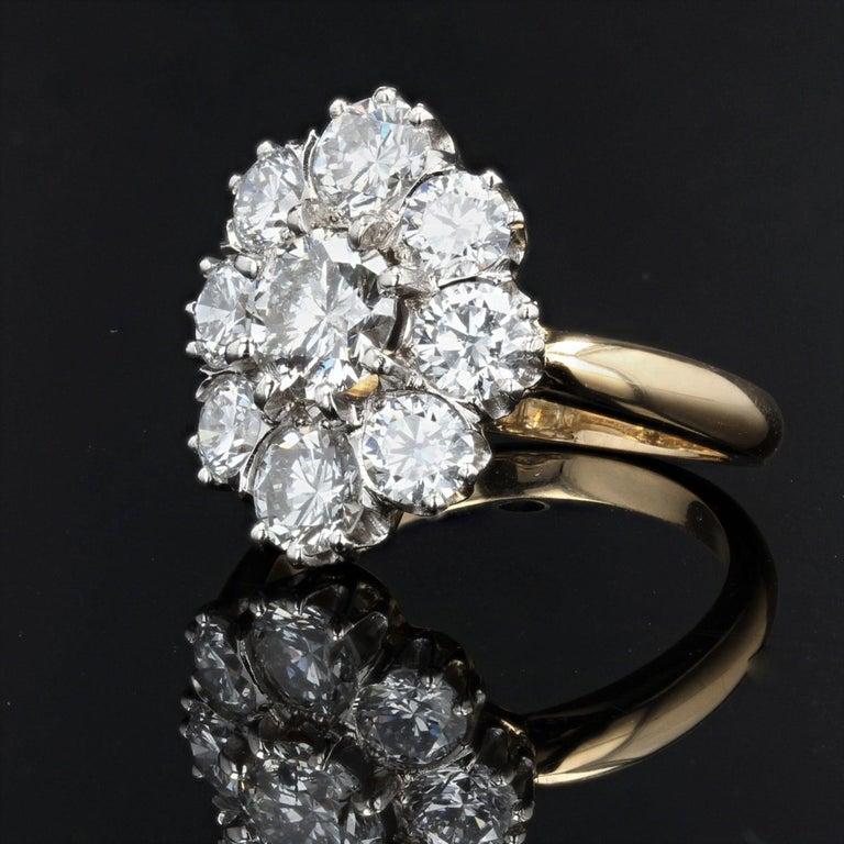 Brilliant Cut 19th Century Style Diamond 18 Karat Yellow Gold Pompadour Ring For Sale