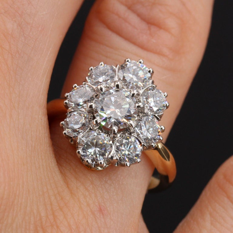 19th Century Style Diamond 18 Karat Yellow Gold Pompadour Ring In New Condition For Sale In Poitiers, FR
