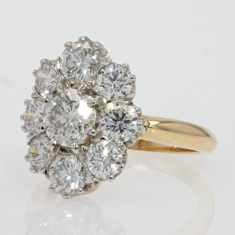 Women's 19th Century Style Diamond 18 Karat Yellow Gold Pompadour Ring For Sale