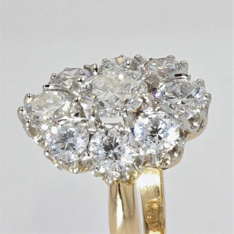 19th Century Style Diamond 18 Karat Yellow Gold Pompadour Ring For Sale 1