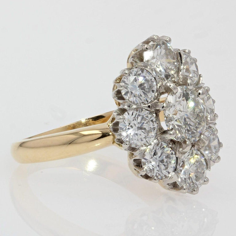 19th Century Style Diamond 18 Karat Yellow Gold Pompadour Ring For Sale 2