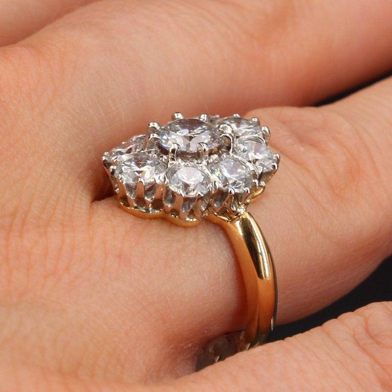 19th Century Style Diamond 18 Karat Yellow Gold Pompadour Ring For Sale 3
