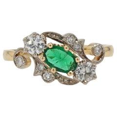 19th Century Style Emerald Diamonds 18 Karat Yellow Gold Ring