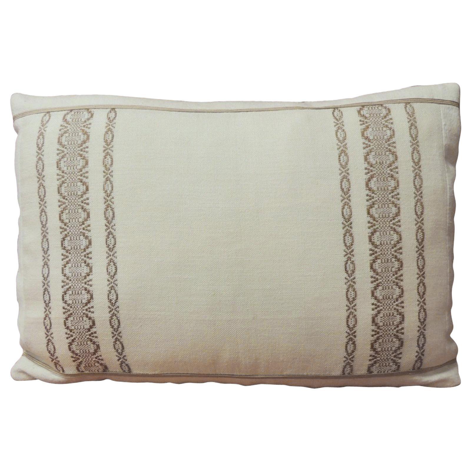 19th Century Style Petite Greek Isle Embroidery Decorative Lumbar Pillow