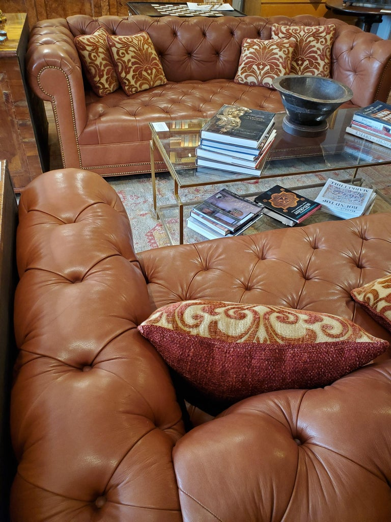 American 19th Century Styled Brown Leather Chesterfield Sofa