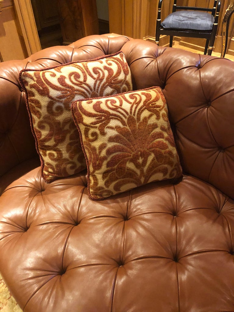 19th Century Styled Brown Leather Chesterfield Sofa In New Condition In Middleburg, VA