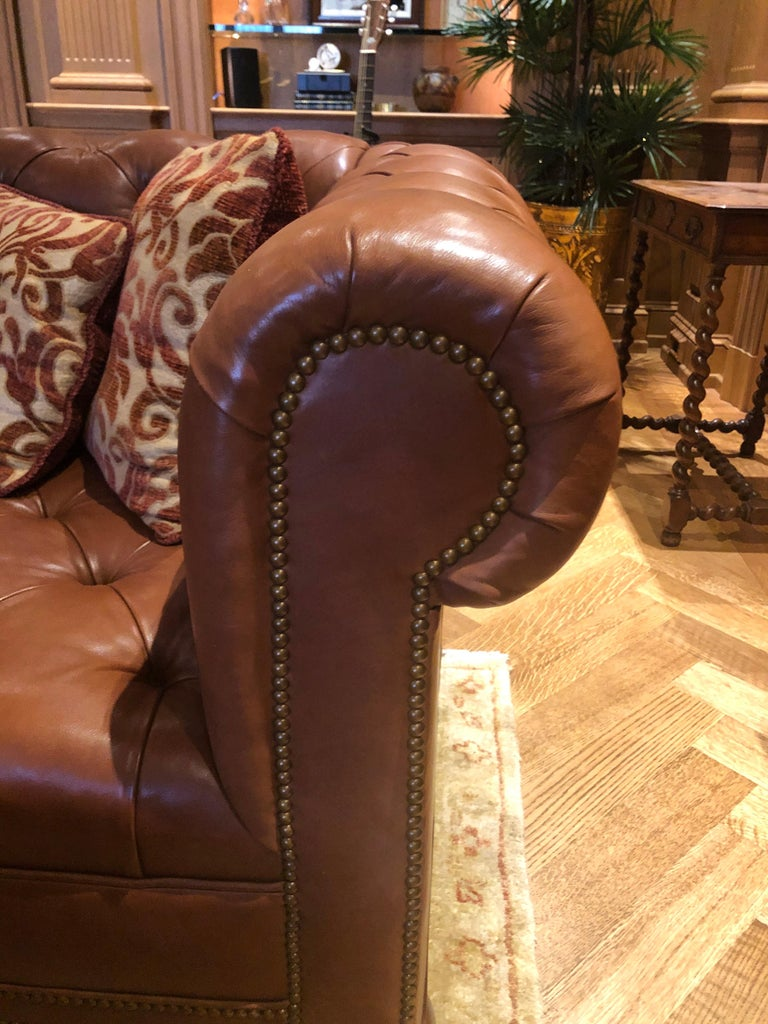 Contemporary 19th Century Styled Brown Leather Chesterfield Sofa