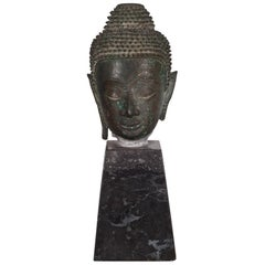 19th Century Sukhothai Bronze Head of Buddha Shakyamuni on Marble Base