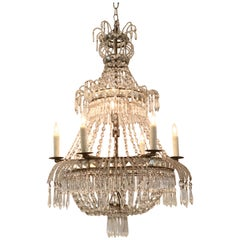 19th Century Swedish Beaded Crystal Basket Form Chandelier