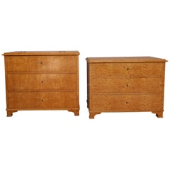 19th Century Swedish Biedermeier Birch Veneer Commodes, Set of 2
