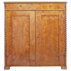 19th Century Swedish Birch Cupboard Sideboard