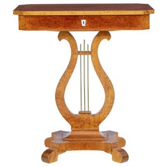 19th century Swedish Birch Lyre Form Occasional Table