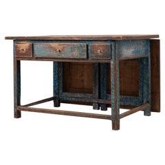 19th Century Swedish Blue Folk Art Work Table