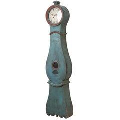 19th Century Swedish Blue Long Case Clock