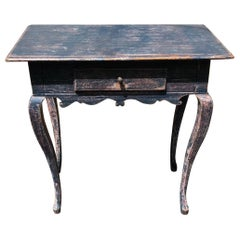 19th Century Swedish Blue Painted Side Table