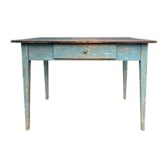 19th Century Swedish Blue Painted Writing Table