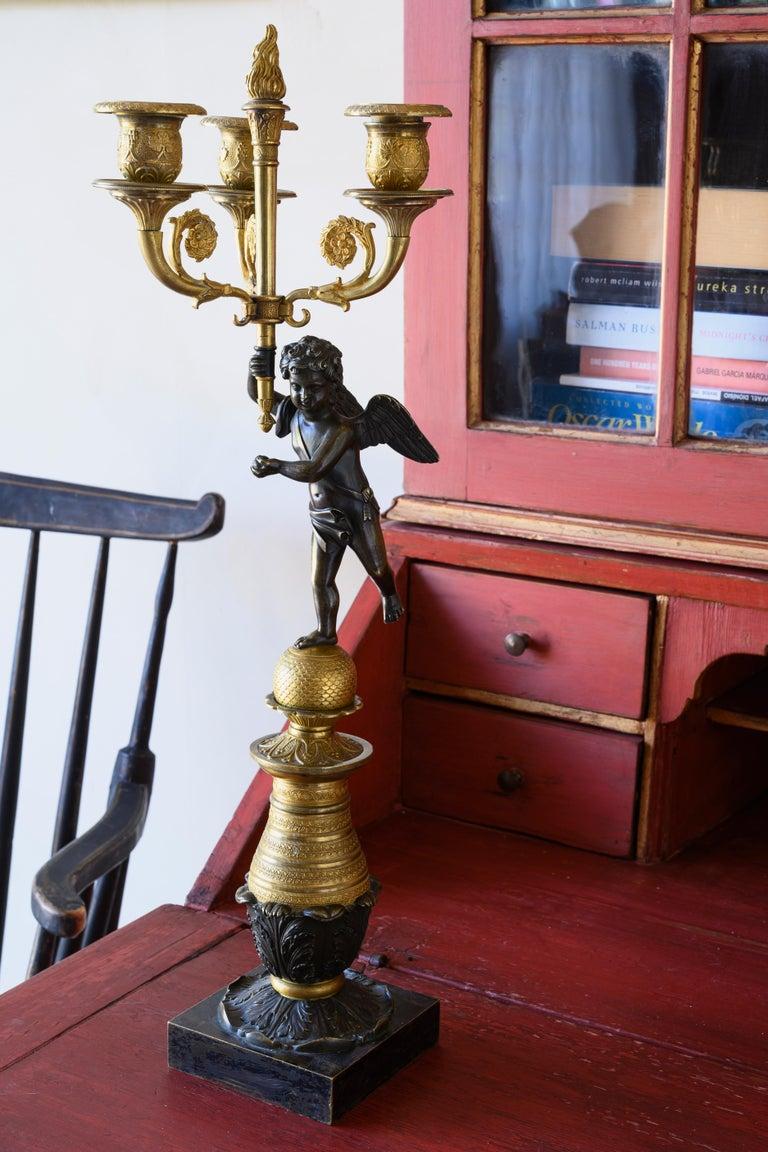 Gilt 19th Century Swedish Candelabra For Sale