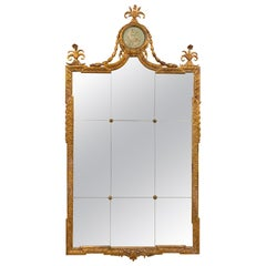 19th Century Swedish Carved and Giltwood Mirror with Divided Glass