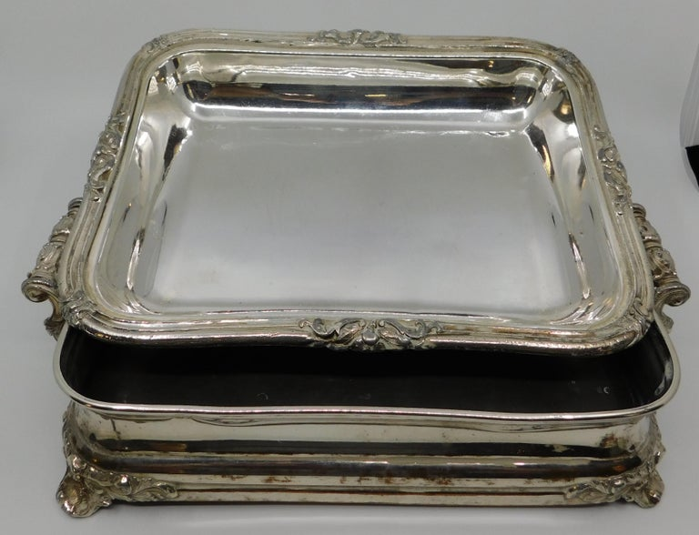Pair of 19th Century Sheffield Silver Plated Entree Hot Serving Dishes For Sale 5