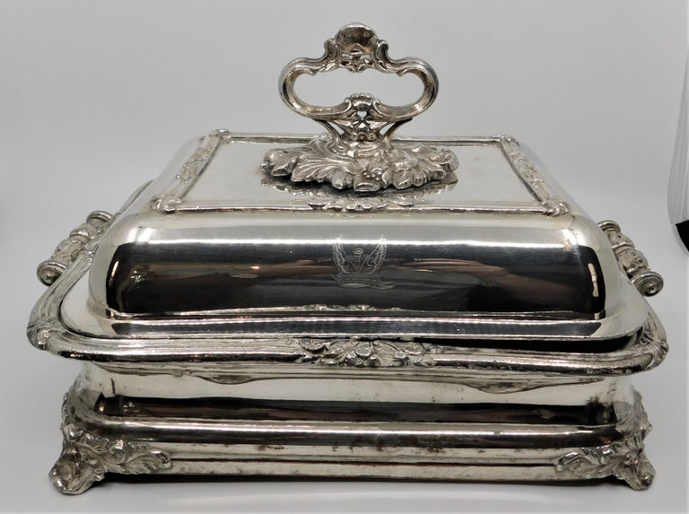 Pair of beautiful antique Sheffield silver-plated entree serving tureens, made circa 1820. Each piece are have three parts with a detachable beautifully ornate handle on lids, which allows for easy washing and storage. Claw feet. In very good