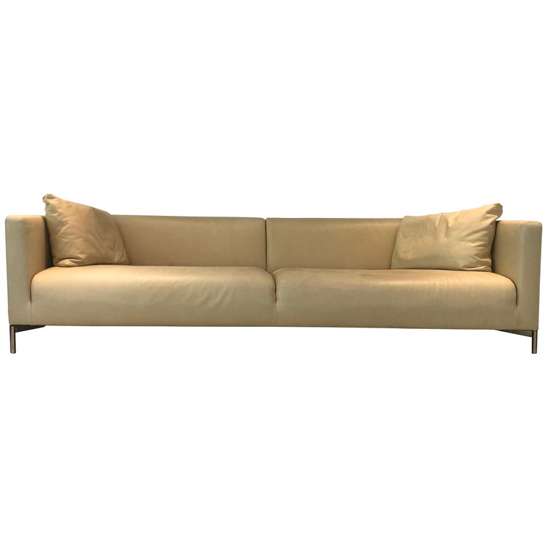 Piero Lissoni Twin Leather Sofa For