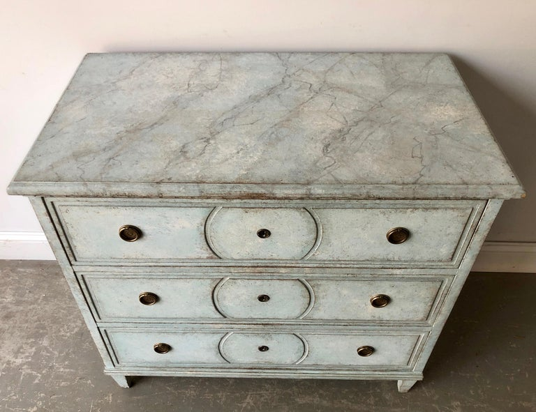 Hand-Carved 19th Century Swedish Chest of Drawers