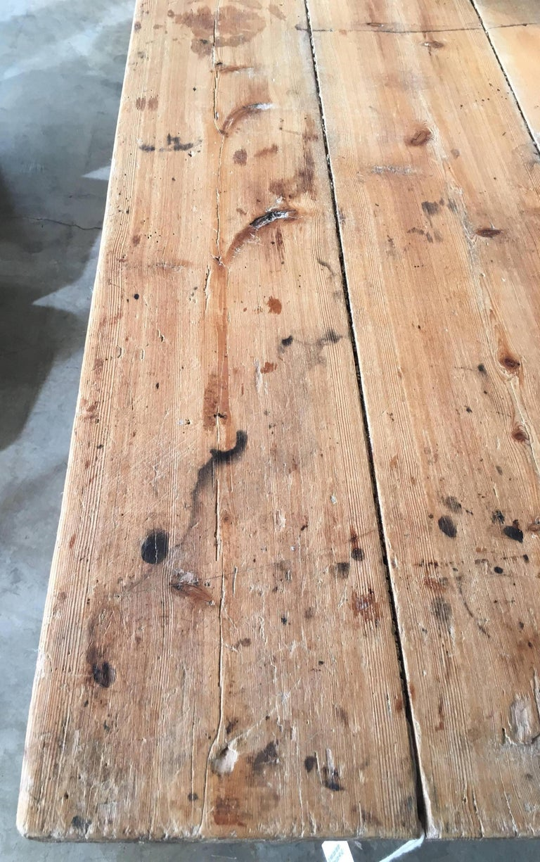 19th Century Swedish Double Trestle Bare Table In Good Condition For Sale In Houston, TX