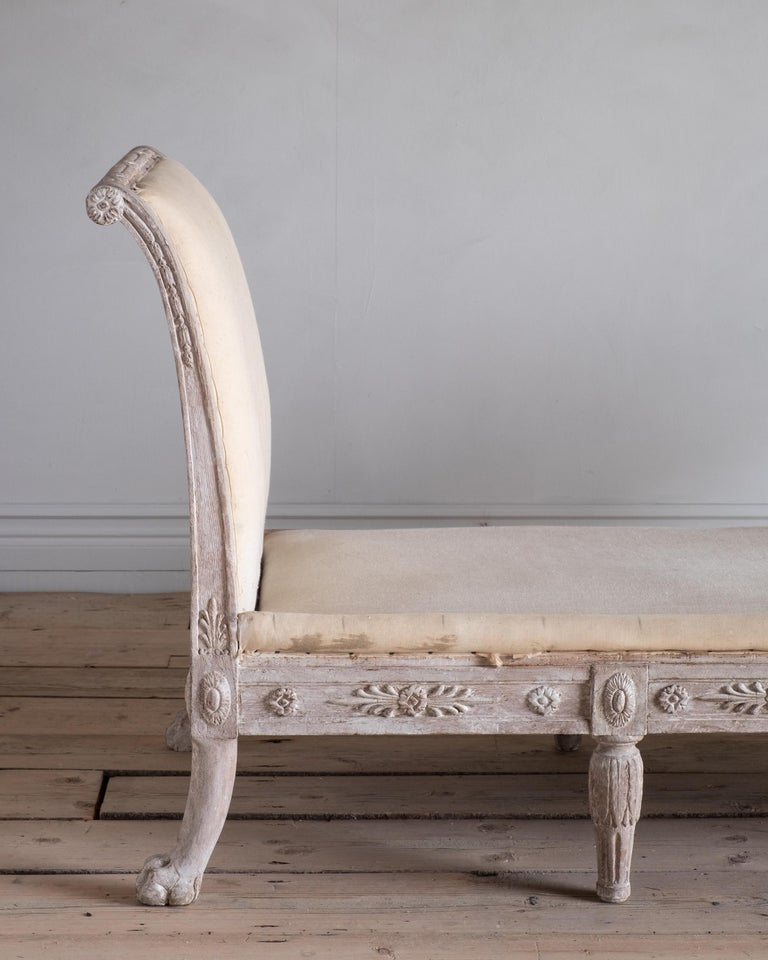 Hand-Carved 19th Century Swedish Empire Daybed For Sale