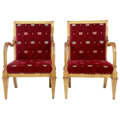 19th Century Swedish Empire Revival Birch Armchairs