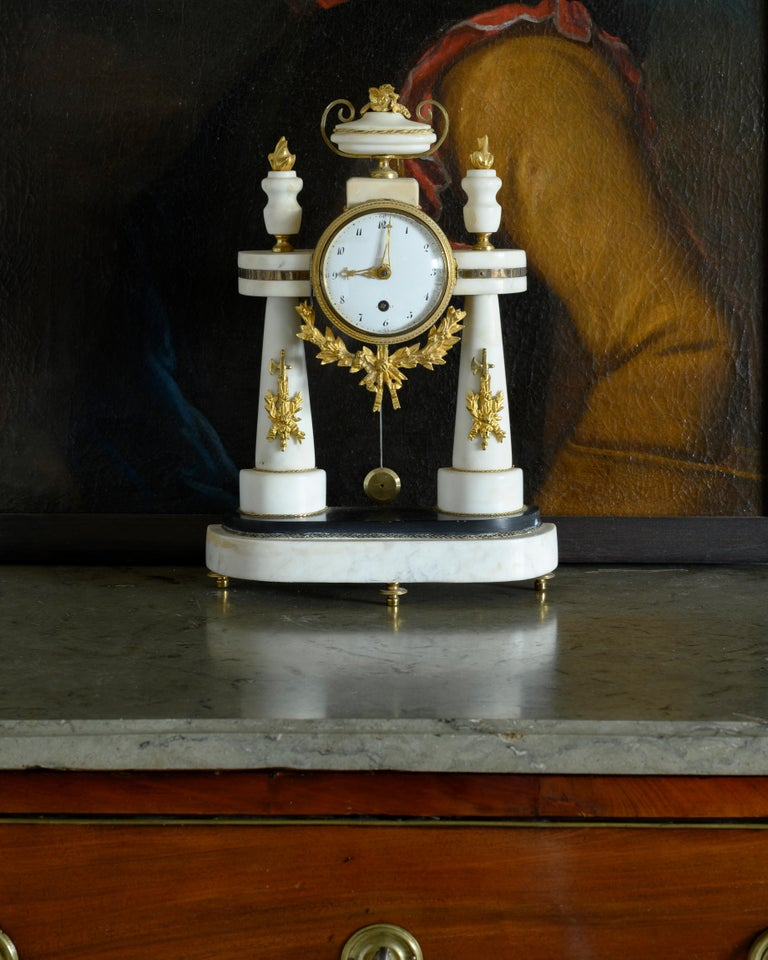 19th Century Swedish Empire Table Clock In Good Condition For Sale In Helsingborg, SE