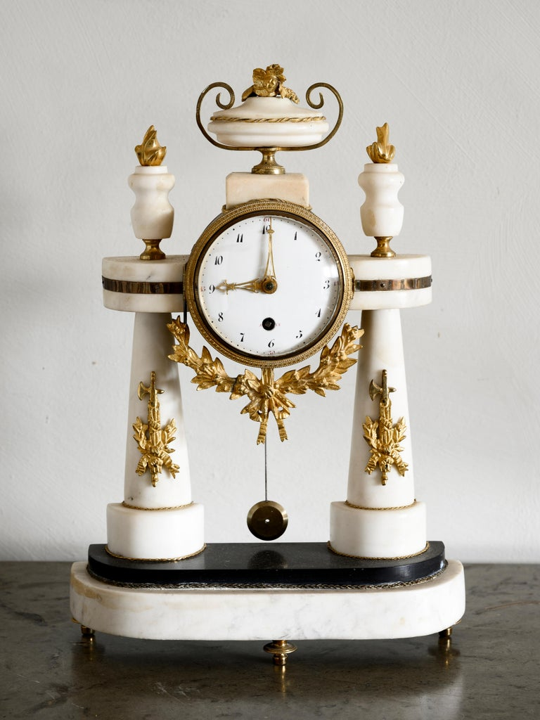 Bronze 19th Century Swedish Empire Table Clock For Sale