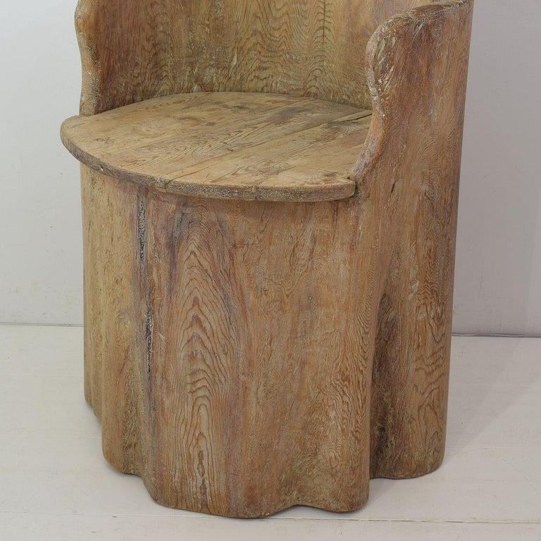 19th Century Swedish Folk Art Dug Out Pine Tree Chair For Sale 6