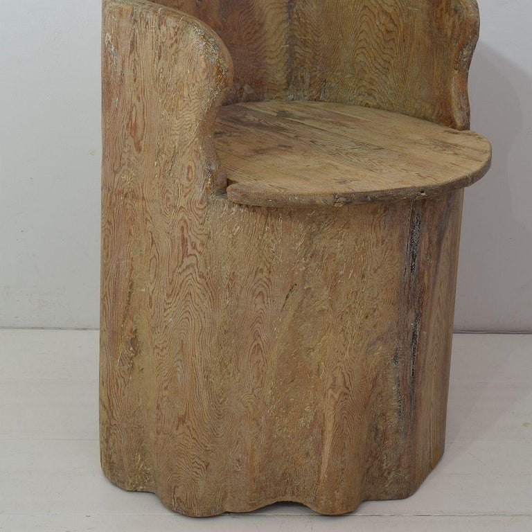 19th Century Swedish Folk Art Dug Out Pine Tree Chair For Sale 8
