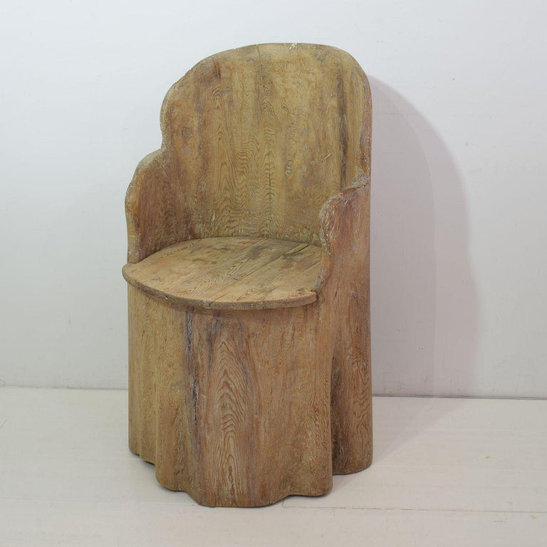 Hand-Carved 19th Century Swedish Folk Art Dug Out Pine Tree Chair For Sale