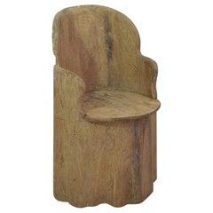 19th Century Swedish Folk Art Dug Out Pine Tree Chair