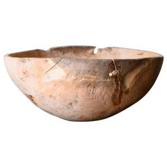 19th Century Swedish Folk Art Root Wood Bowl
