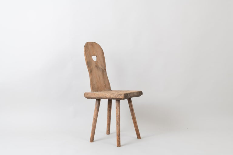 Hand-Crafted 19th Century Swedish Folk Art Rustic Chair For Sale
