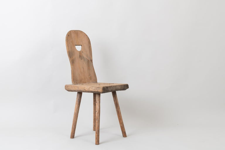 19th Century Swedish Folk Art Rustic Chair In Good Condition For Sale In Kramfors, SE