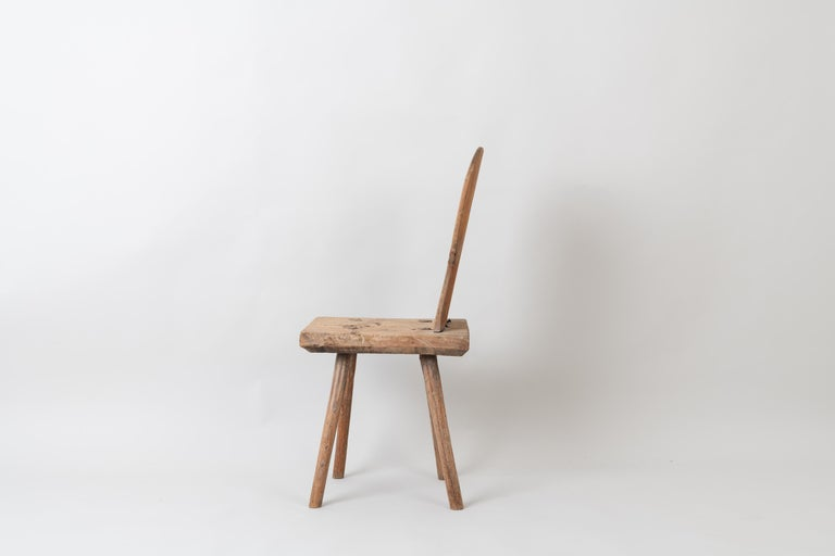 Pine 19th Century Swedish Folk Art Rustic Chair For Sale