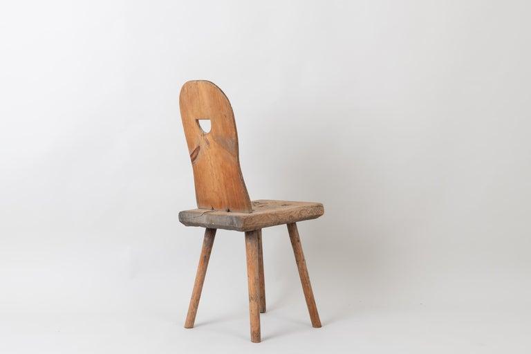 19th Century Swedish Folk Art Rustic Chair For Sale 1