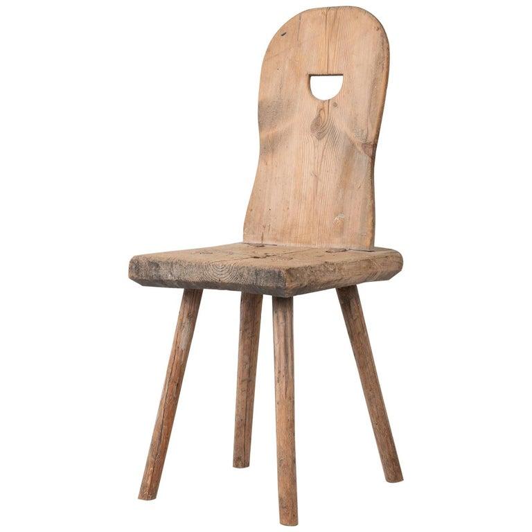 19th Century Swedish Folk Art Rustic Chair For Sale