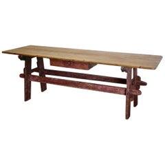 19th Century Swedish Folk Art Trestle Table in Original Paint
