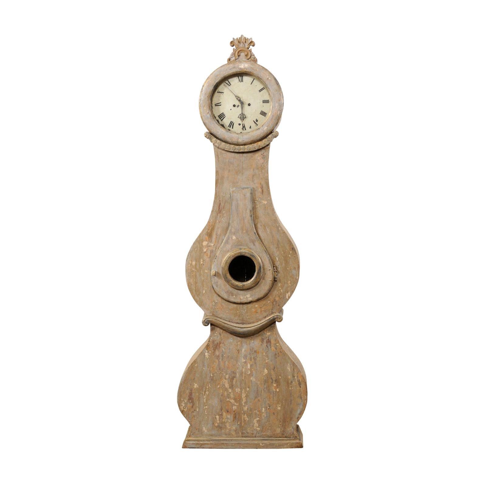 19th Century Swedish Fryksdahl Floor Clock w/ Beautiful, Curvaceous Body