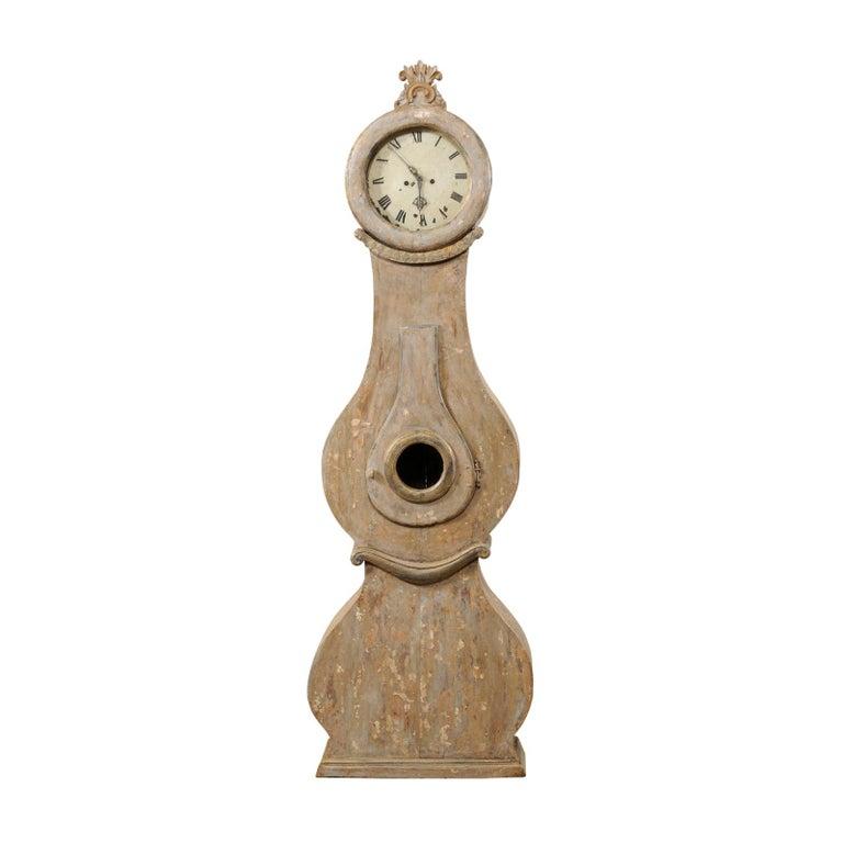 19th Century Swedish Fryksdahl Floor Clock w/ Beautiful, Curvaceous Body For Sale