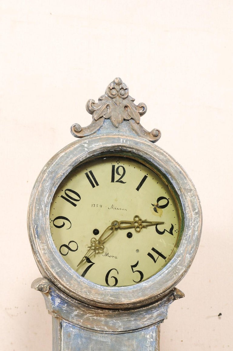 19th Century 19th C. Swedish Fryksdahl Floor Clock in Blue Hues with Nicely Carved Details For Sale